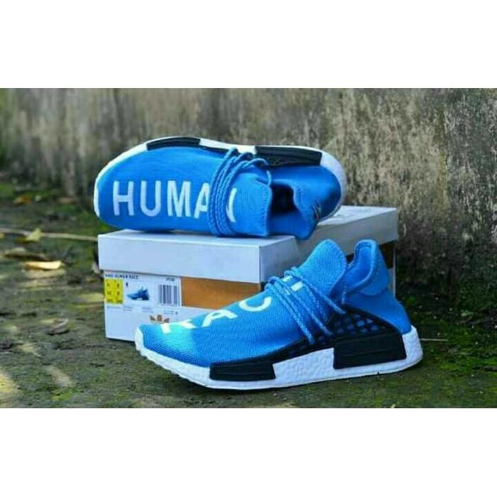 Promo Termurah Sepatu Adidas NMD Human Race Premium Blue Import Made In Vietnam Gratis Ongkir
