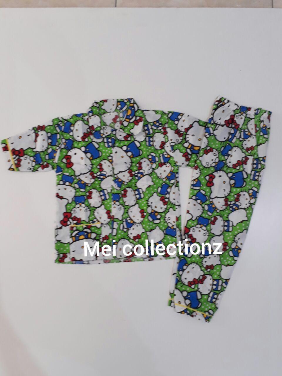 Mei Collectionz Piyama Anak Kitty Green Size XL / Piyama Anak Murah / Piyama Anak / Baju Tidur Anak / Baju Tidur / Baju Anak Murah / Katun Catra / Katun Korea / Katun CVC