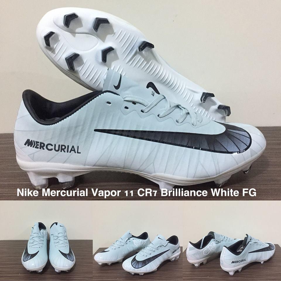 SEPATU BOLA NIKE MERCURIAL VAPOR 11 CR7 BRILLIANCE WHITE FG + GRADE PREMIUM + BOX ORIGINAL !