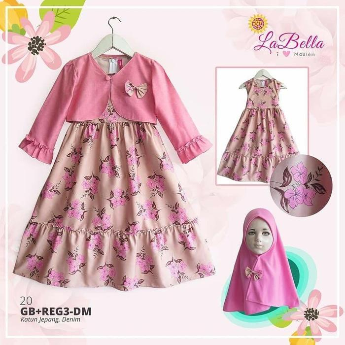 (6-24 bulan) GB DM 20 Gamis Bayi LaBella Bolero Denim Pink