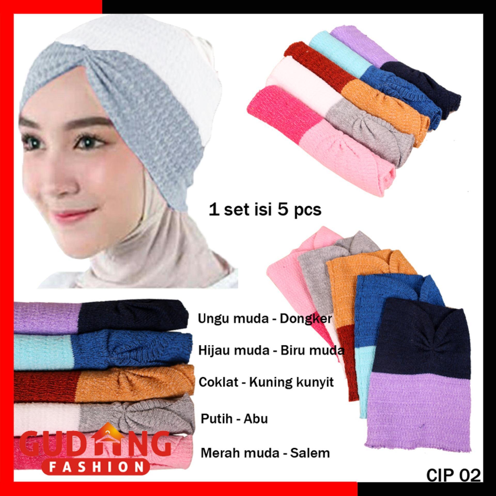 Gudang Fashion - Ciput Rajut 2 Warna Murah Anti Pusing Isi 5 Pcs - Kombinasi Warna