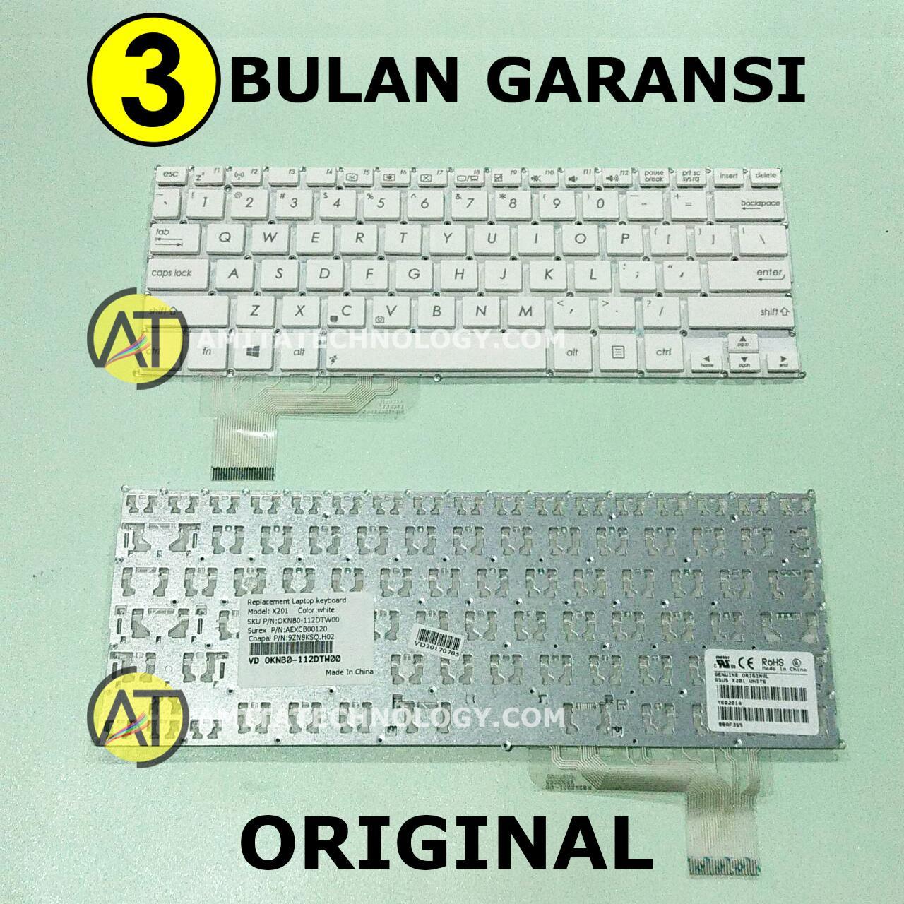 Amita - Keyboard Laptop ORIGINAL Asus X201 X201E X202 S200 S200E Q200 Putih