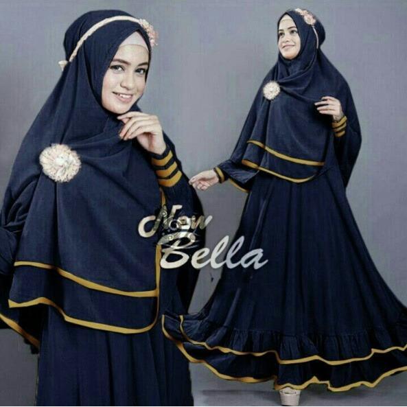 Snowshop Gamis Syari New Bella - Full Colour - Dress Muslimah / Bahan Jersey / Busana / Maxi / Syarii / Pasmina / Hijab / Lembut / Gamis Muslim / Fashion