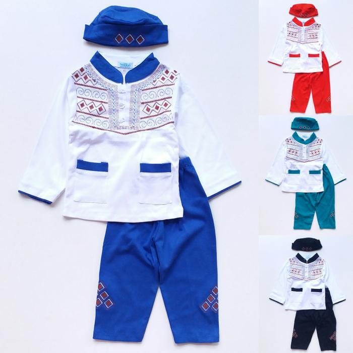 New  Baju Muslim Koko Anak Laki Cowok Putih Celana Warna Bordir Wajik 1-3th