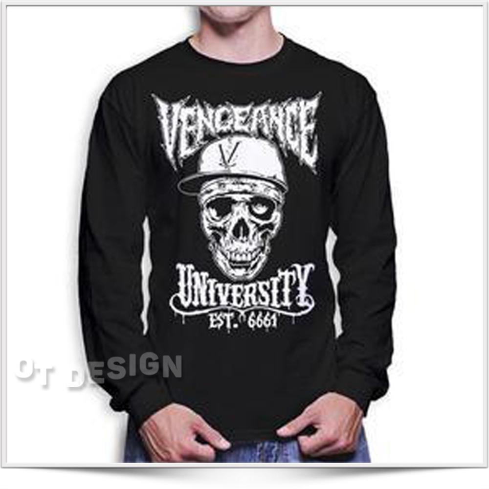 Kaos Baju Distro Avenged Sevenfold Desain Vengeance University White (A7x) Lengan Panjang Ot_design