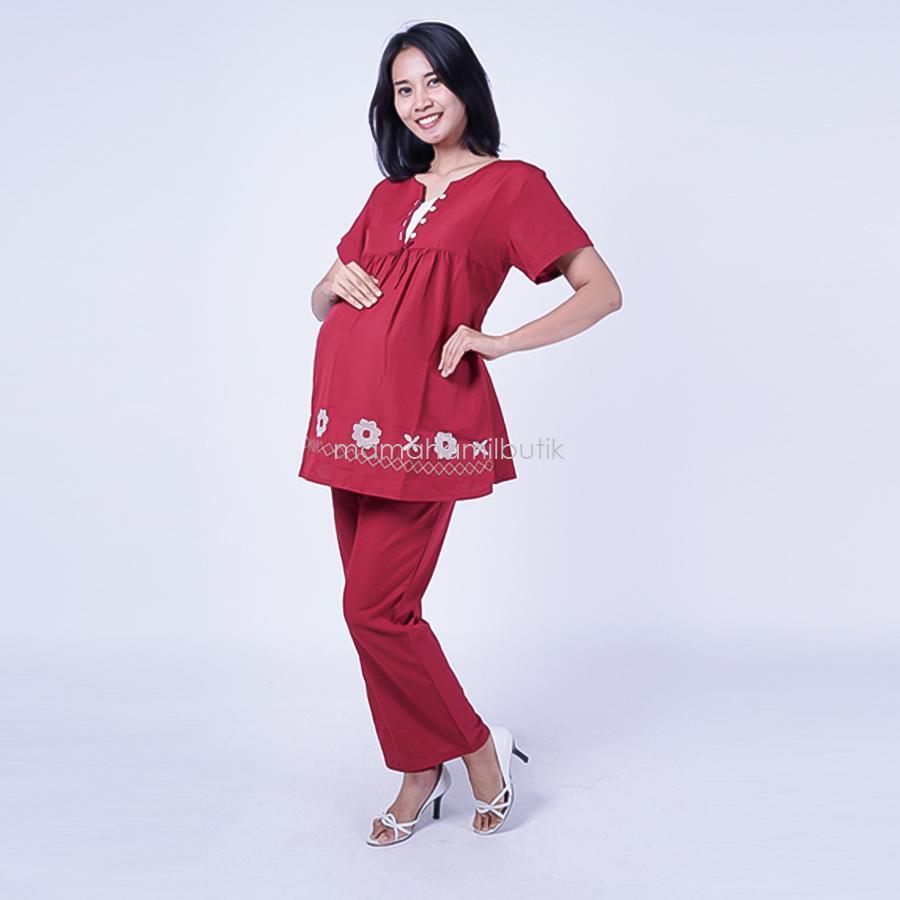 Mama Hamil Setelan Hamil V Renda Rose / Baju Hamil Untuk Kerja / Baju Hamil Muslim / Baju Hamil Seksi Baju Hamil Gamis / Baju Hamil Kerja Modis / Baju Hamil batik / Baju Hamil Menyusui