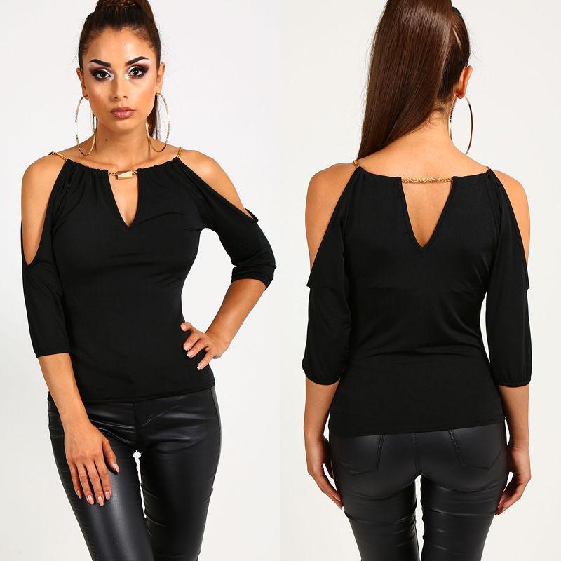 aec0222a4da Fashion Women Loose Summer Casual Off Shoulder Blouse Shirt Tops Black Half  Sleeve Hollow Out Blouse