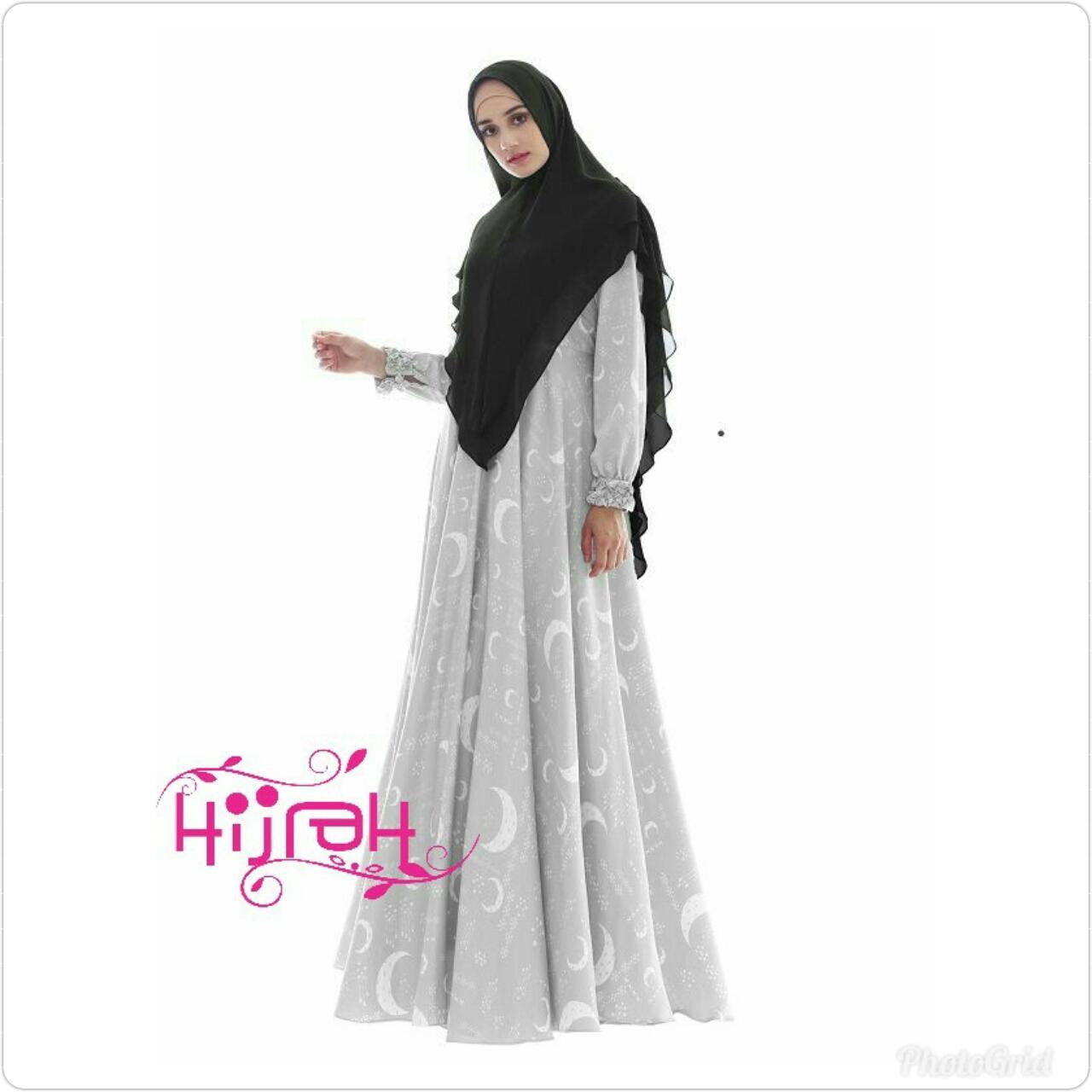 Gamis Syari Cantik Murah Elegan Abu Silver Daily Wear cocok Untuk Acara Santai