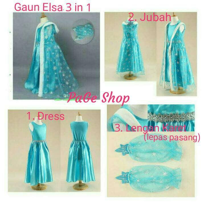 Gaun Elsa Frozen 3 in 1 dress baju pesta impor