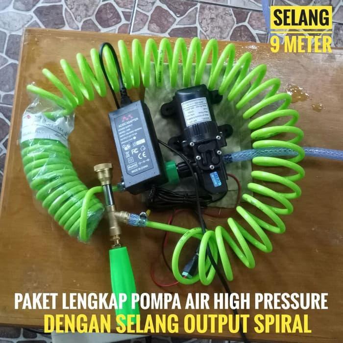 Paket POMPA Lengkap Dengan Selang Spiral Pompa Cuci Motor Mobil AC 60 Watt