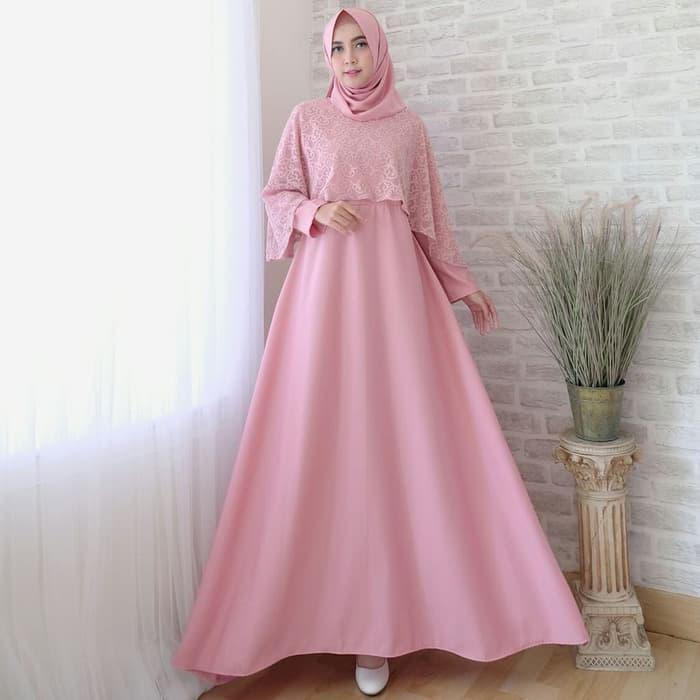 Baju Gamis Syari Pesta Remaja Kombinasi Brokat Set + Jilbab Pashmina/Baju Gamis/Baju Gamis Mualimah/Baju Muslimah/Gamis Wanita/Baju Gamis Original/Hijab/Jilbab