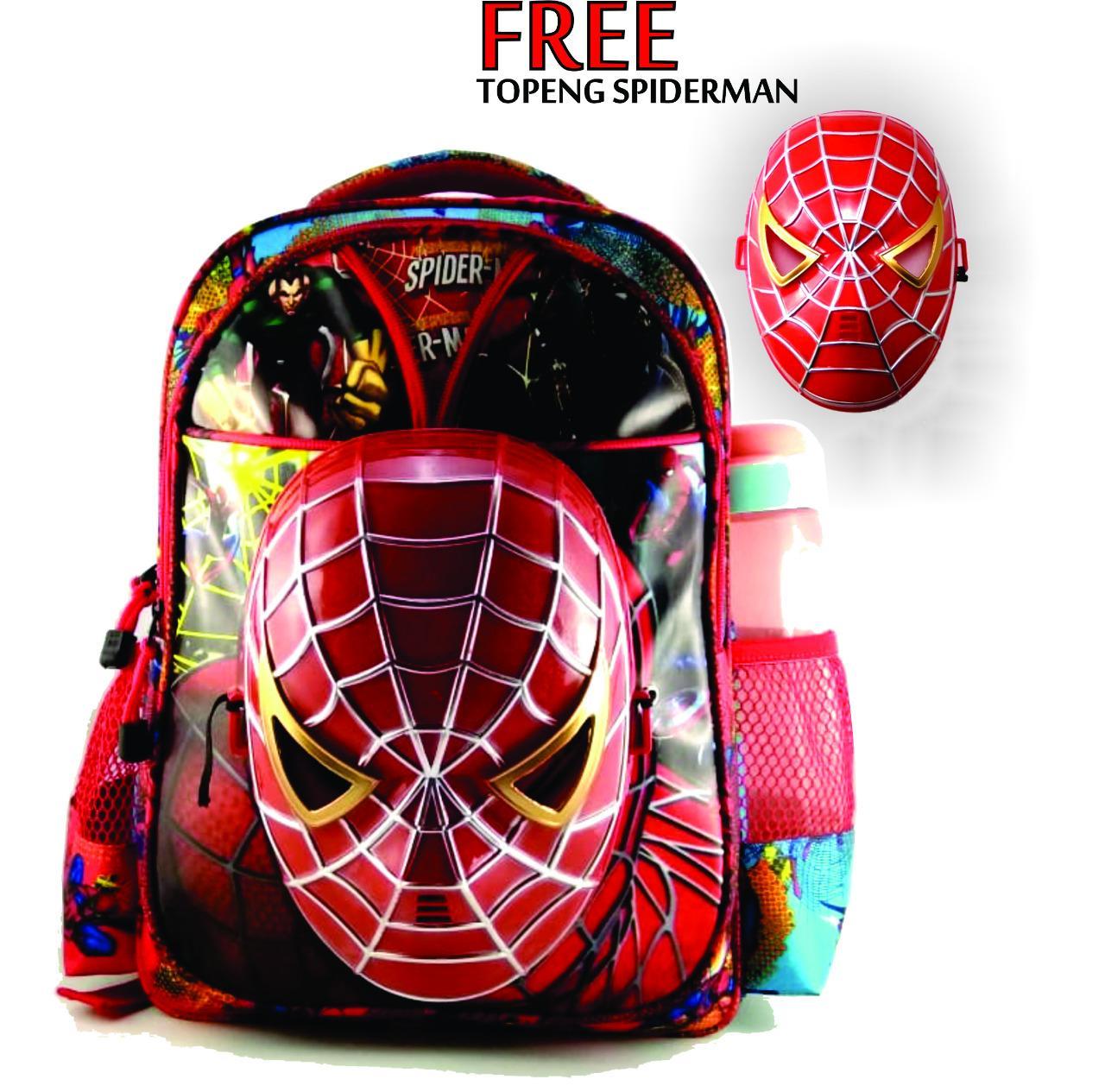 Tas Ransel Anak Laki-Laki Sekolah Motif Spiderman Bagus Free Topeng-spider 01