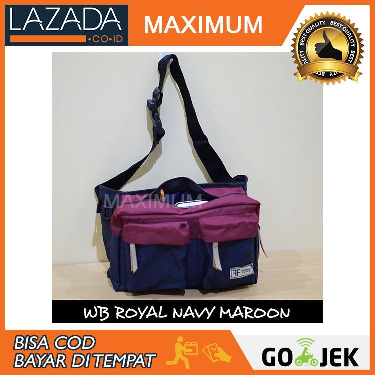 Max COD - Waistbag Distro Terbaru / Waistpack / Tas Pria / Tas Selempang - Navy Maroon