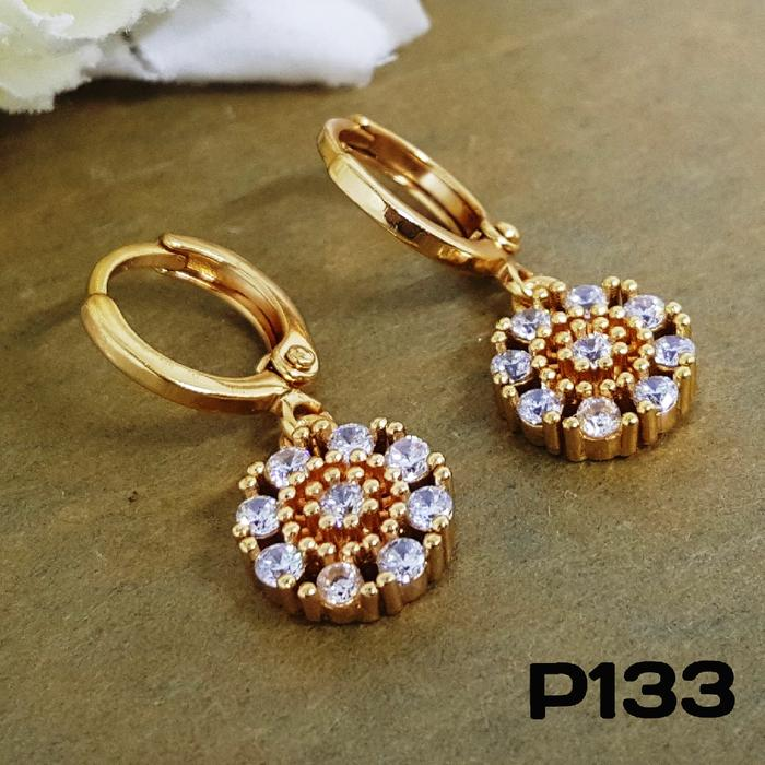P133 Anting Berlian Cantik (Set Perhiasan Imitasi Xuping Lapis Emas)