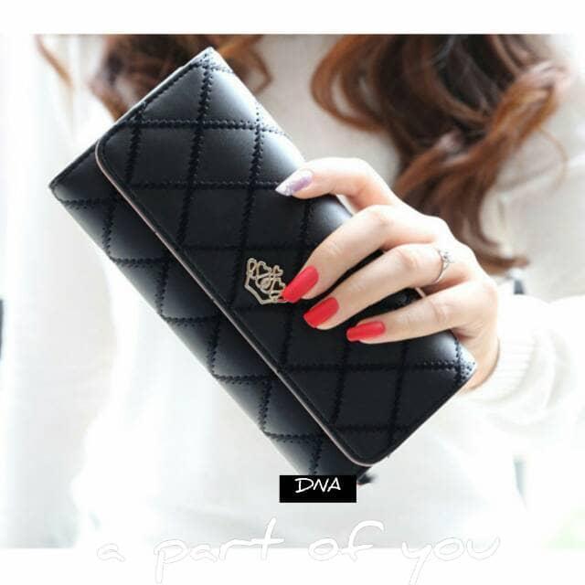 Jual Dompet Wallet Fashion Lady Wanita Cewek Panjang Ratu Queen Murah Hitam - Hitam Promo