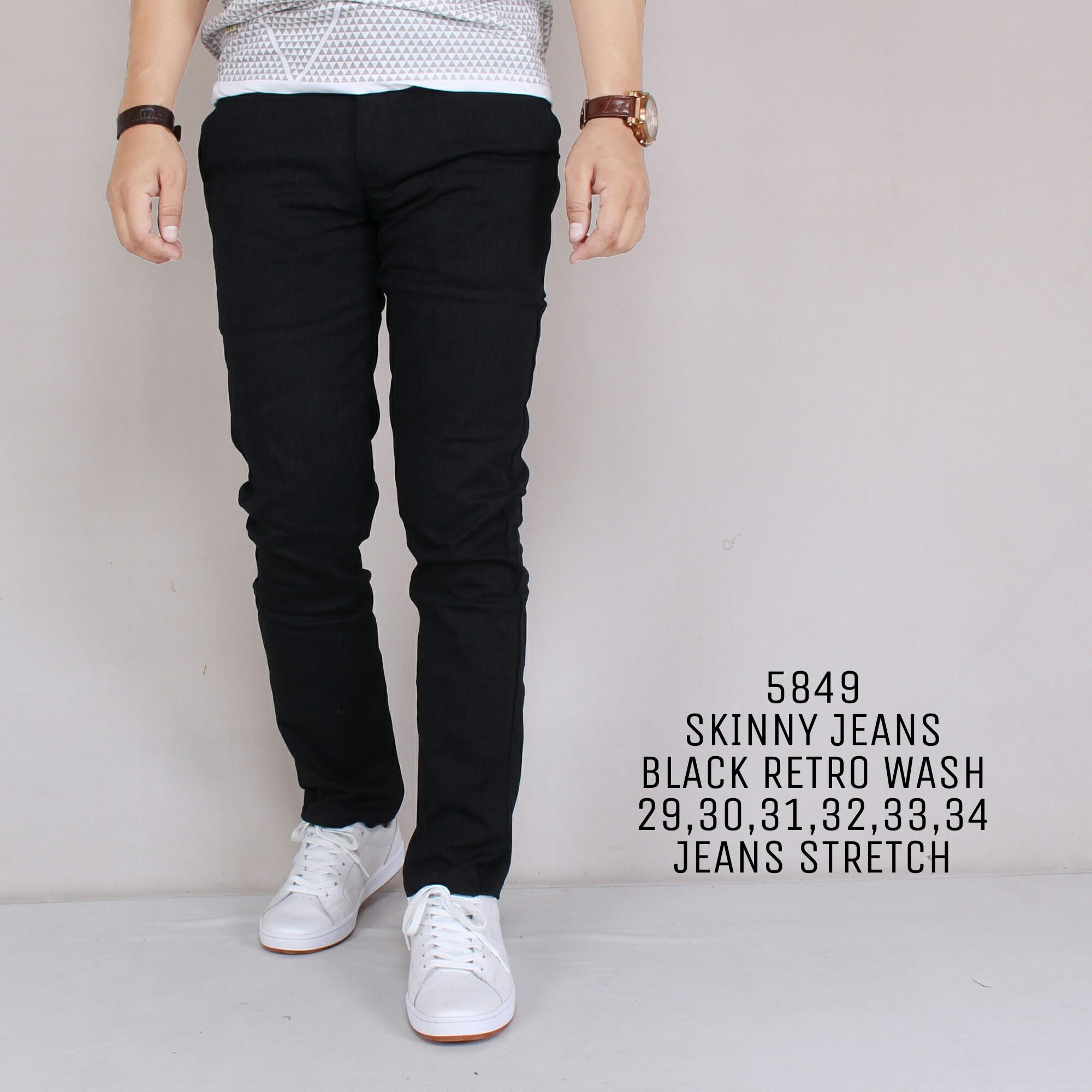 Zoeystore 5849 Celena Jeans Panjang Pria Celana Jeans Skinny Cowok Washing Black Cut Rips Celana Jeans Slimfit Denim