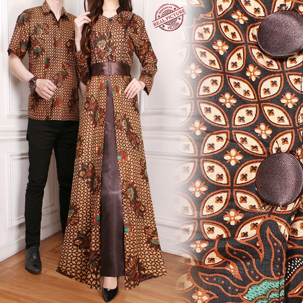 Glow fashion Couple batik dress maxi panjang wanita jumbo long dress dan atasan kemeja pria shirt Mara