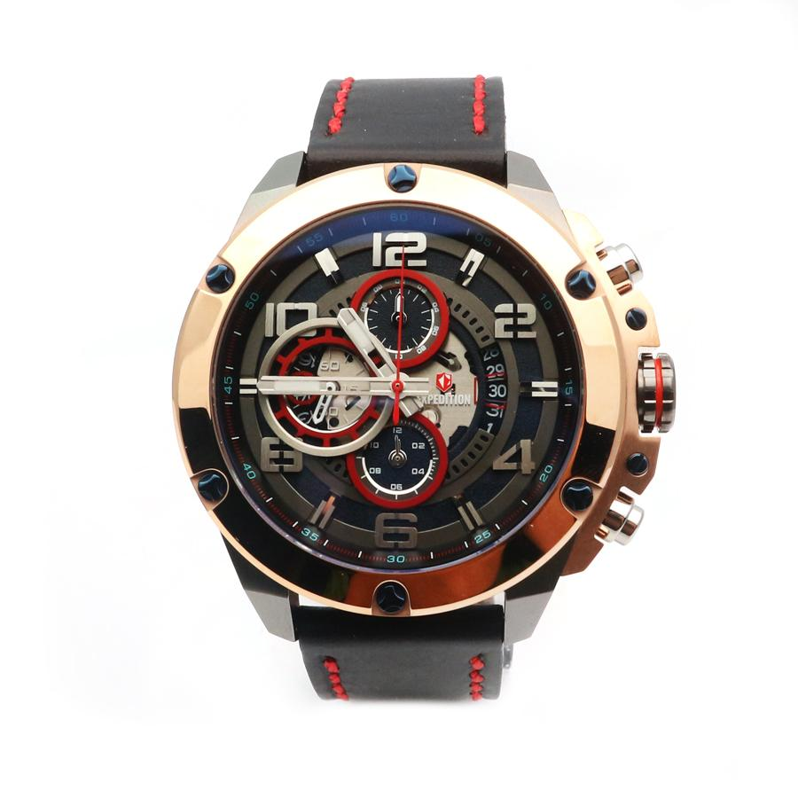 Expedition - Jam Tangan Pria - Grey-Hitam Ring Rosegold - Strap Hitam - 6752 MCLGRBA