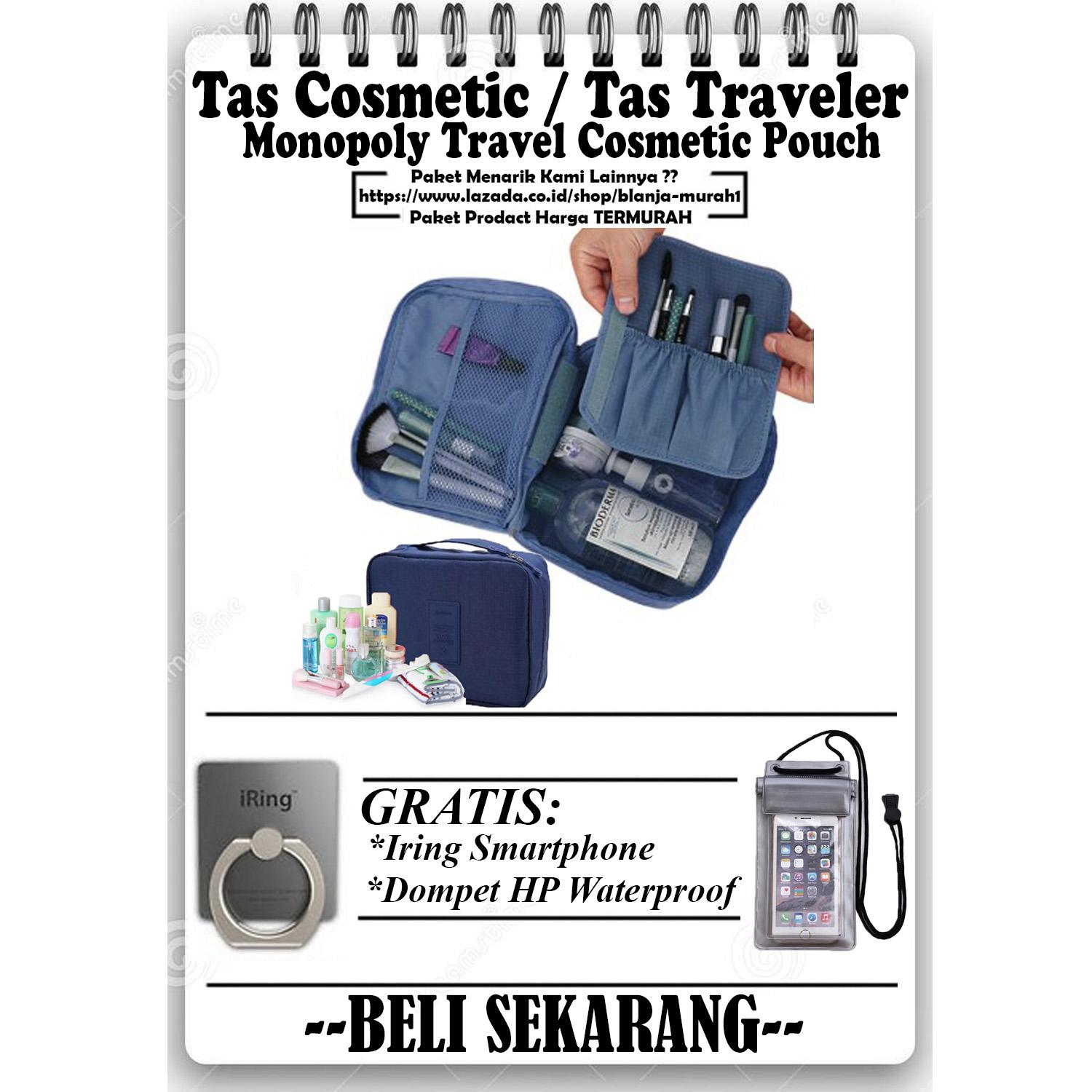 Trend's Monopoly Travel Cosmetic Pouch - Monopoly Cosmetic Organizer - Tas Treveler - Navy GRATIS Iring