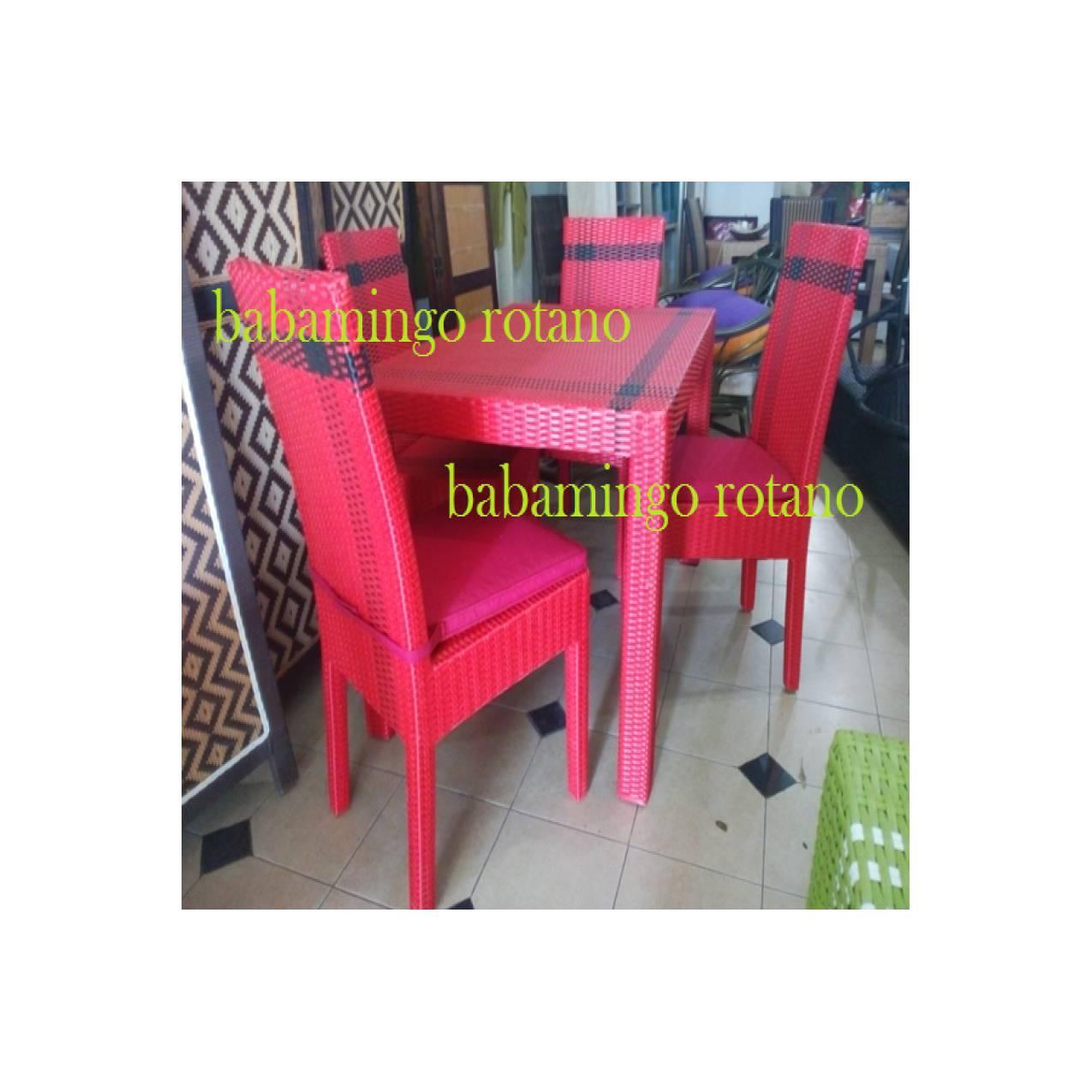 SET kursi meja makan ROTAN SINTETIS rainbow bogor cibinong