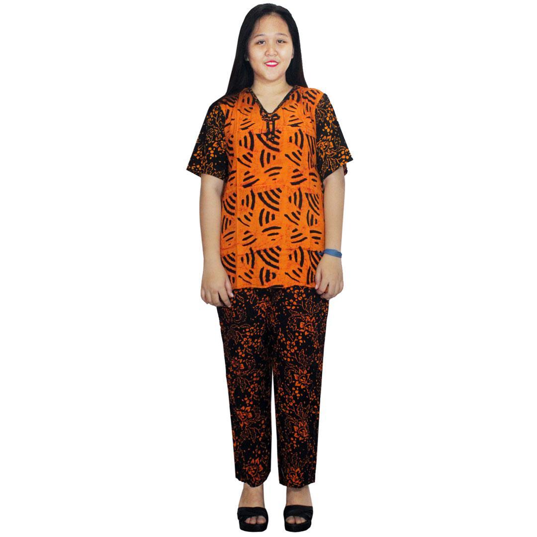 Setelan Celana Kulot Panjang Berlengan Pendek Batik Cap Halus, Baju Tidur, Piyama, Leher V (RST001-01) Batik Alhadi