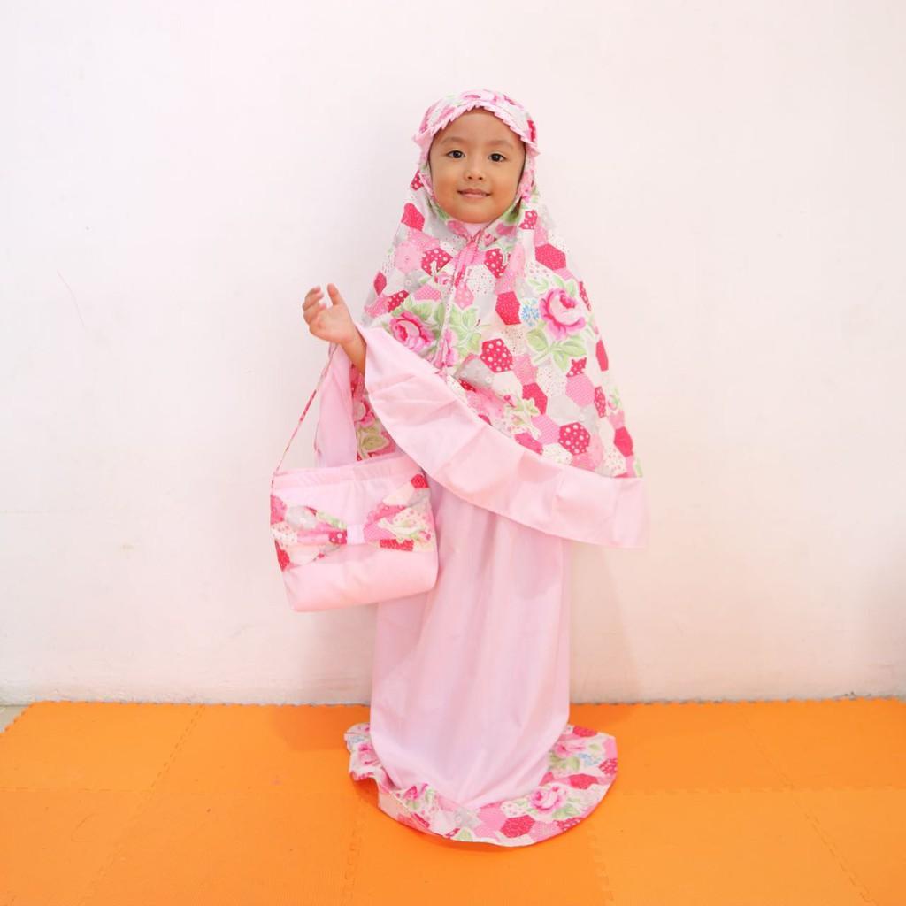 Mukena anak motif cantik dan lucu size 2 sampai 6 tahun Pink