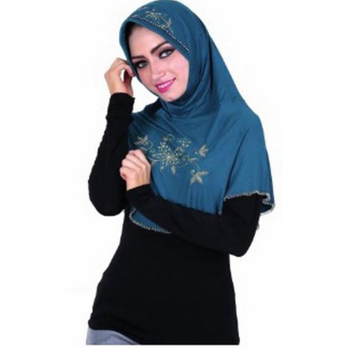 Jilbab / Kerudung Wanita Spandek Rayon Hijau Hitam Gareu Gum 4714  Ghtpoef
