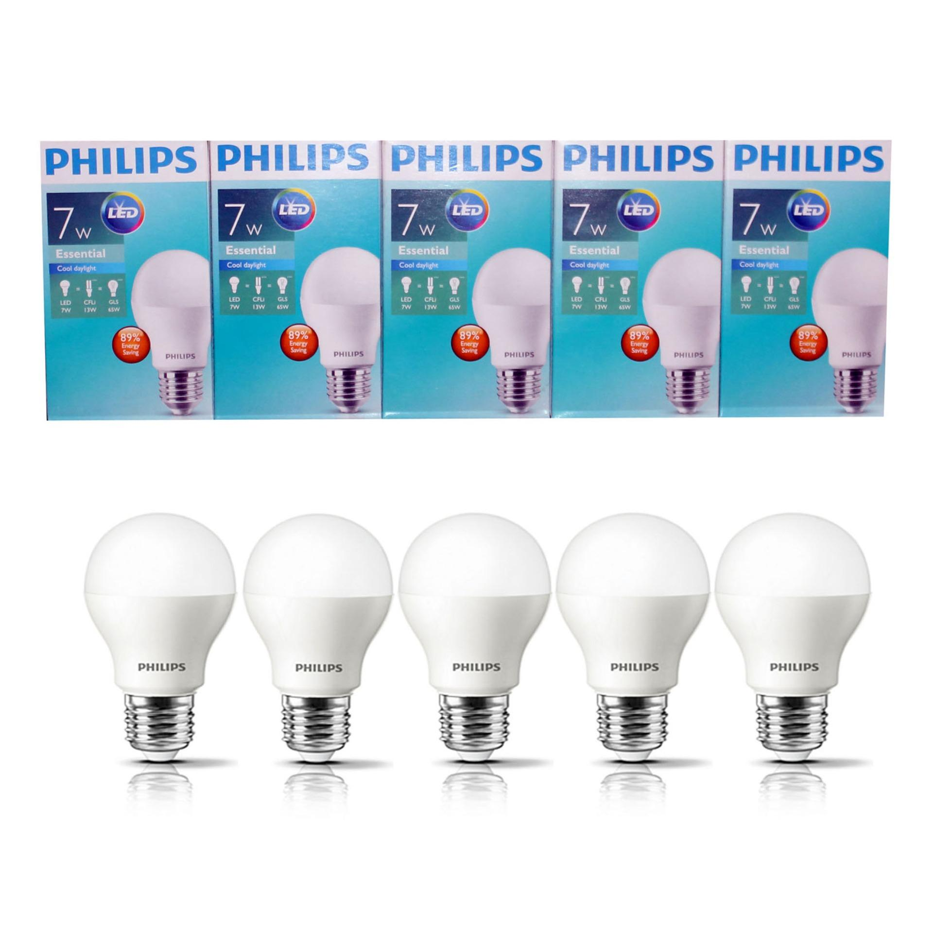 PHILIPS Lampu Led Bulb Essential 7 Wat 7 W 7Watt 7W Paket 5 Pcs Putih