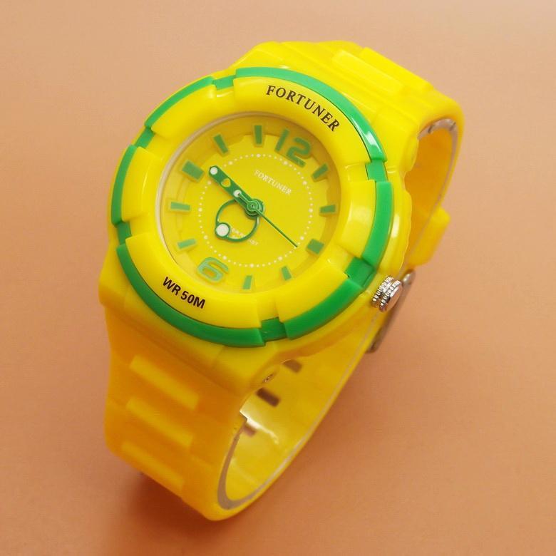 Fortuner - FRJA866YG - Jam Tangan Wanita Cewek Remaja Tahan Air - Rubber Strap - Yellow Green - Kuning Hijau
