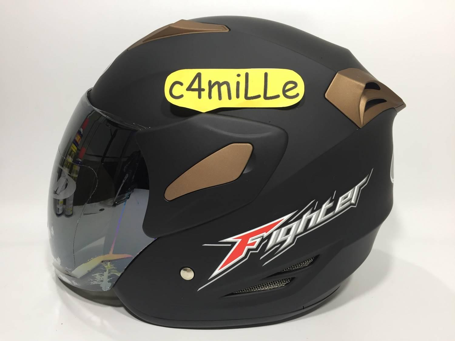 HELM GM FIGHTER SOLID BLACK DOP HALF FACE