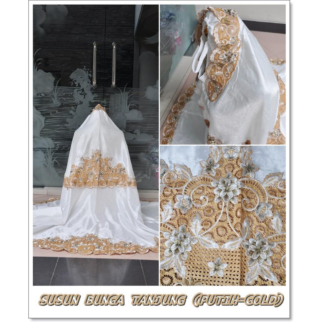 GROSIR MUKENA BORDIR TASIK SUSUN BUNGA TANJUNG/PUTIH GOLD/COKSU FULL GOLD