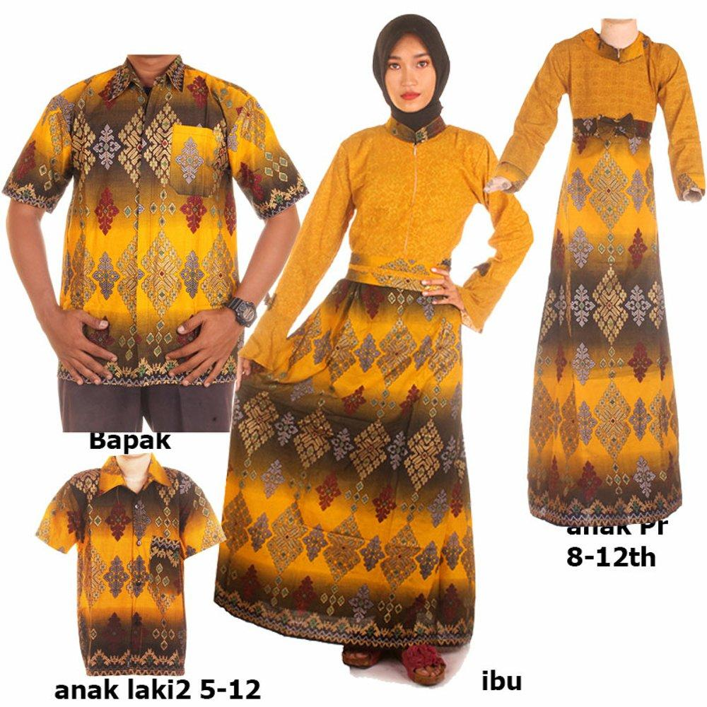 baju couple gamis batik keluarga bahan katun terbaru warna kuning JB Pro do Dewi