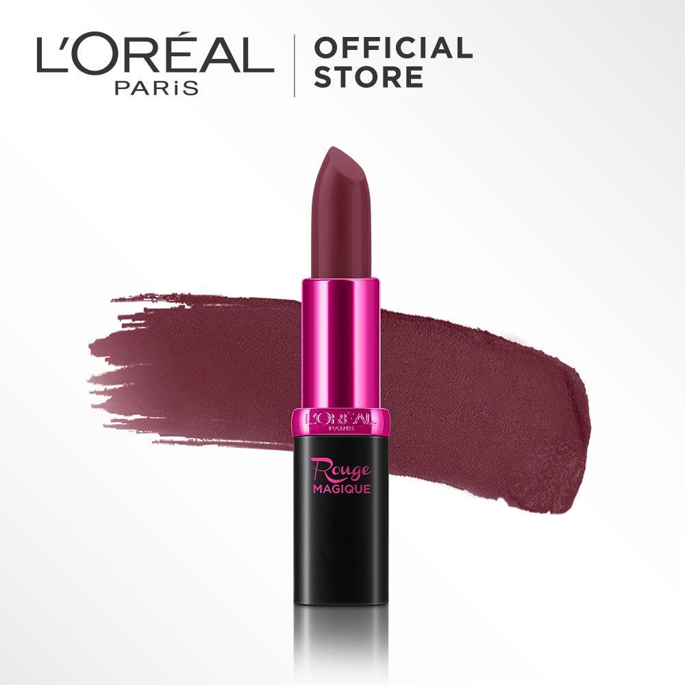 L'Oreal Paris Rouge Magique Lipstick - 907 Mauve Petal by L'Oreal Paris Makeup | Lipstik Loreal Plum Creamy Matte  Long Lasting Lightweight Tahan Lama Ringan Pigmented