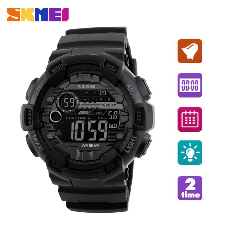 SKMEI  Watch Fashion Pria Olahraga Jam Tangan LED Digital Watch Militer 50 M Waterproof Kasual Pria Alarm Jam Tangan Relogio Masculino-Intl