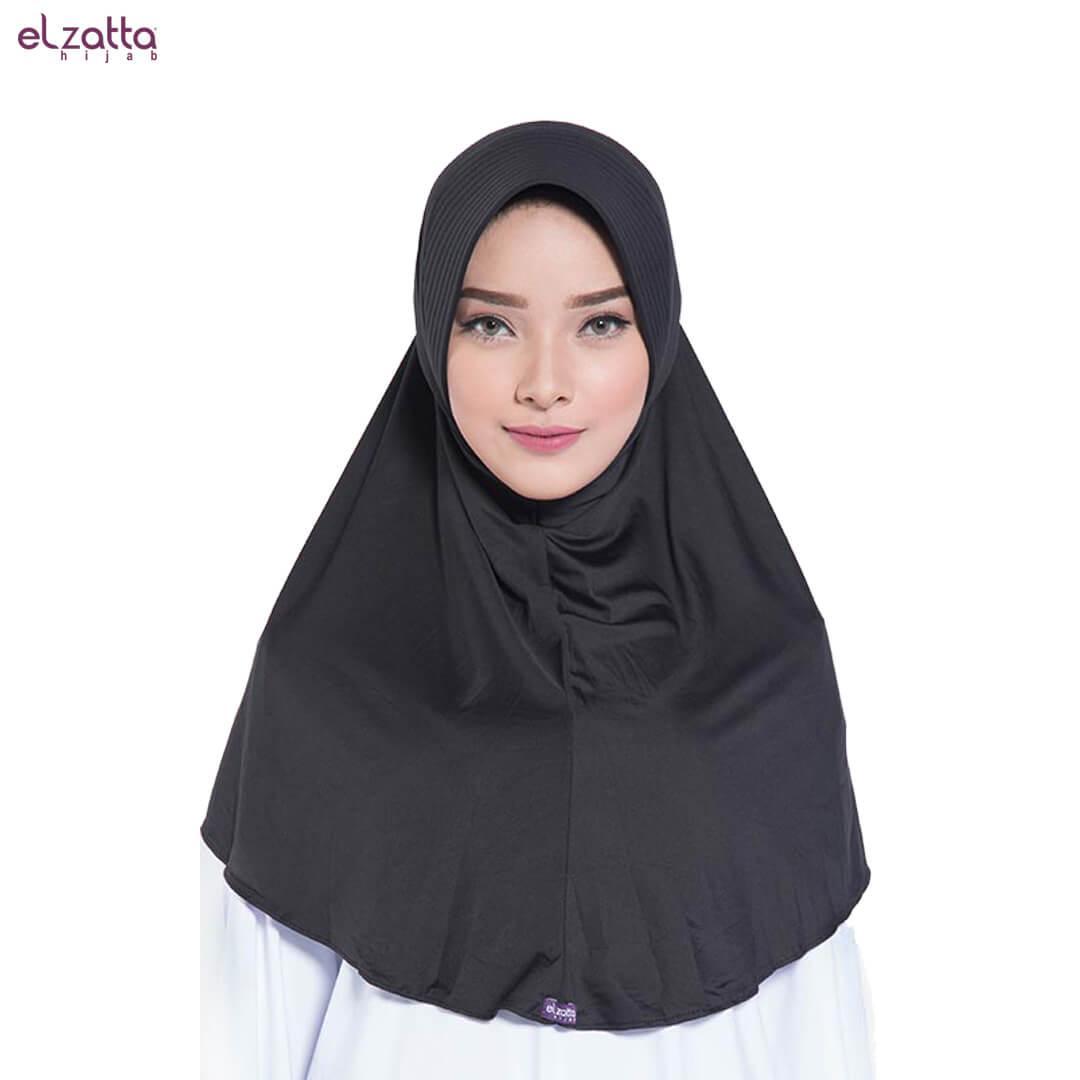 Elzatta Hijab Atau Hijab Atau Hijab Instan Atau Bergo Atau Elzatta Basic - E002 HITAM