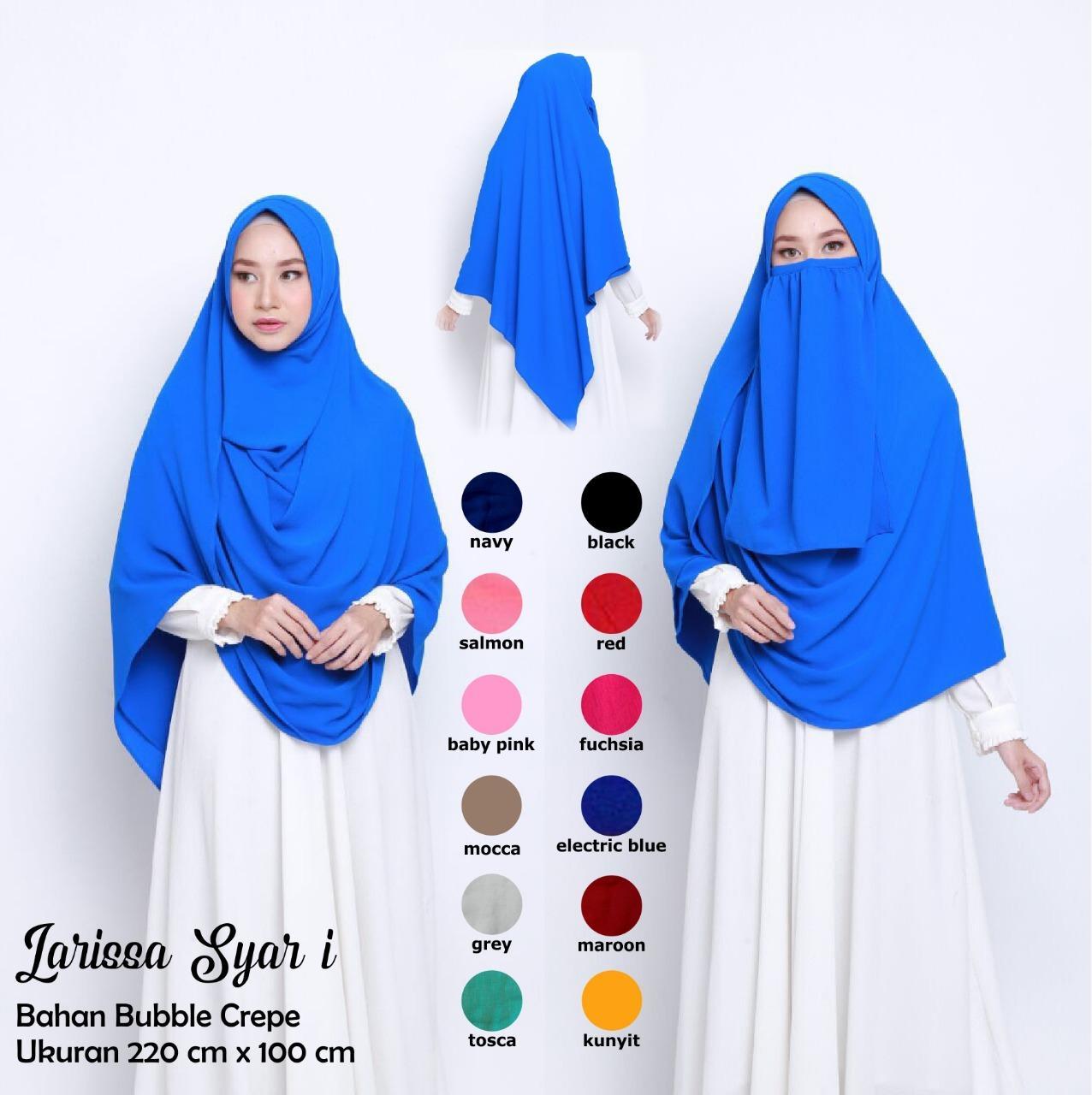 larissa syar'i dengan cadar/ hijab Syari free cadar / pastan syari / hijab isntan jumbo / hijab syari murah / hijab cadar