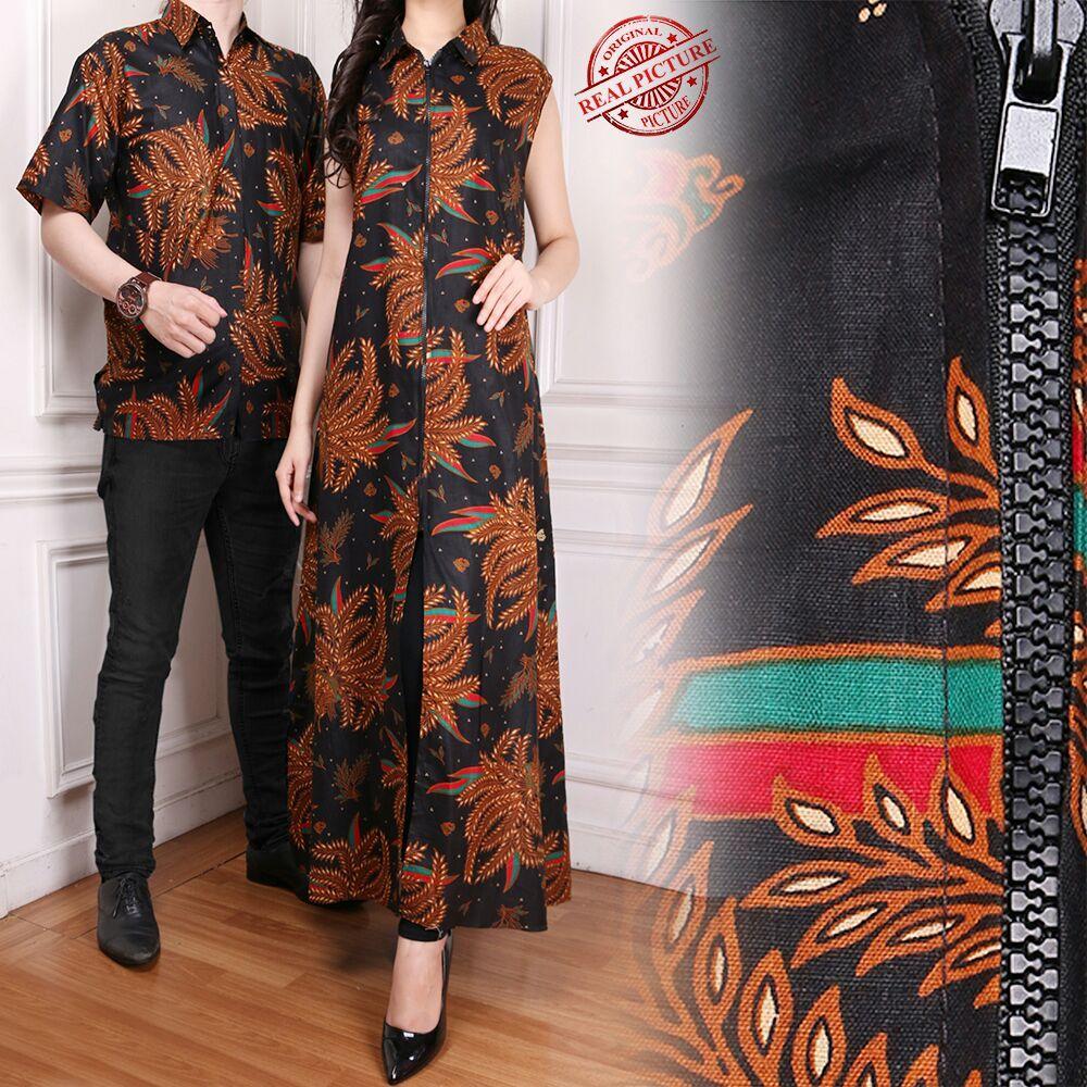 Glow Fashion Couple Batik blazer 2in1 batik dress maxi panjang atasan blouse long tunik kemeja wanita long dress dan atasan kemeja pria shirt Lisha