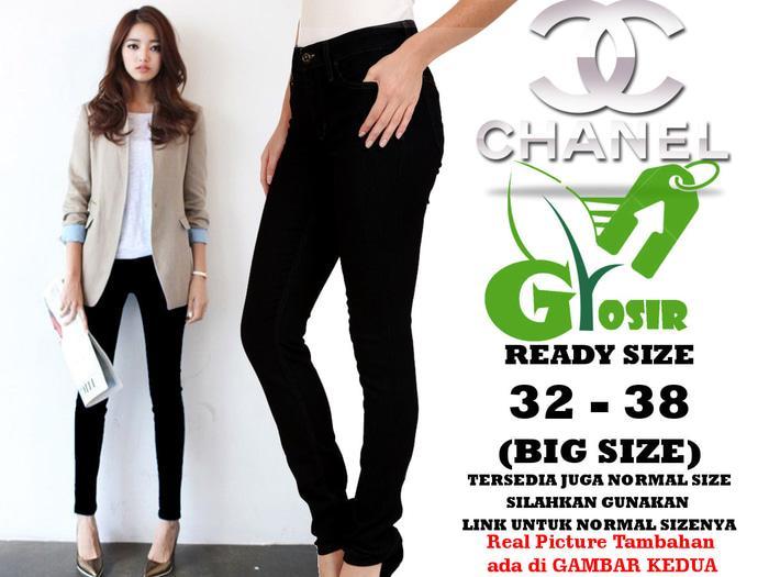 Celana Soft Jeans CHANEL BLACK / HITAM Skinny WANITA GROSIR BIG SIZE