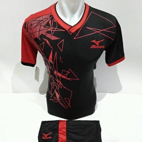 setelan olahraga kaos bola jersey futsal baju volly mizuno segitiga hitam merah