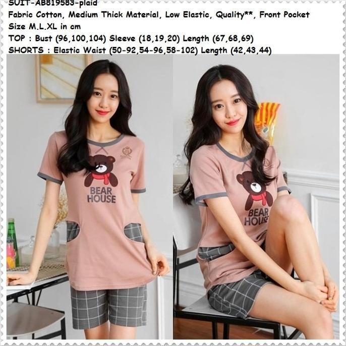 Baju Tidur Celana Pendek Piyama Dewasa Katun Korea Import Teddy Bear  Ghtpoef