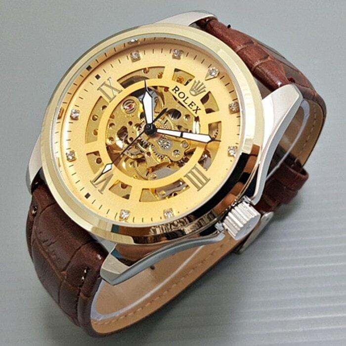 Jam Tangan Pria / Jam Tangan Cowok Rolex Kulit Automatic Skeleton / Jam Tangan Rolex / Jam Tangan Kulit / Jam Tangan Automatic