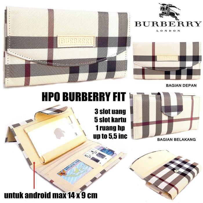 TERLARIS!!! DOMPET HPO BURBERRY FIT FOR HP / ANDROID KW SUPER LIGHT CREAM - qpcBGX