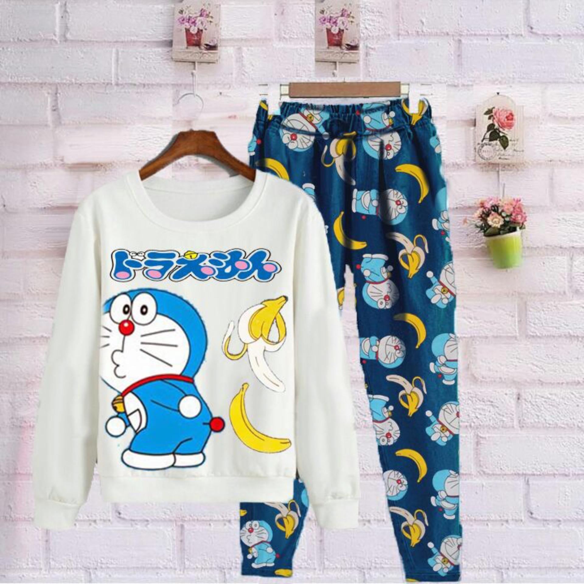 Shoppaholic Shop Baju Kodok Setelan Dora Banana / Baju Setelan / Baju Jamsuit / Celana Joger / Celana Katun / Baju Doraemon / Baju Kodok / Celana Panjang Wanita / Kaos Bagus