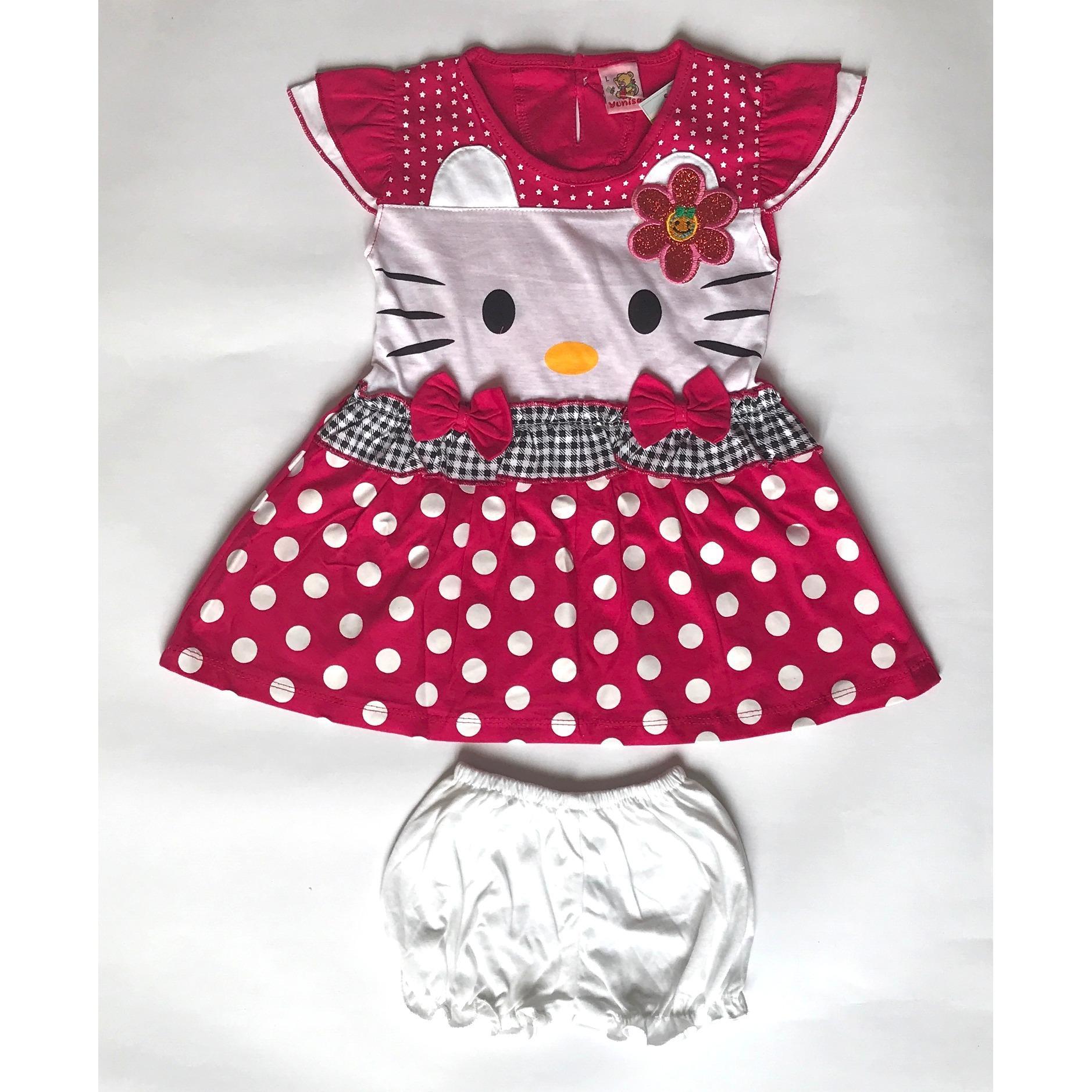 BAYIe - Setelan Baju Bayi Dress Perempuan motif HELLO KITTY YUNISA / Pakaian anak cewek umur 1 - 2 tahun