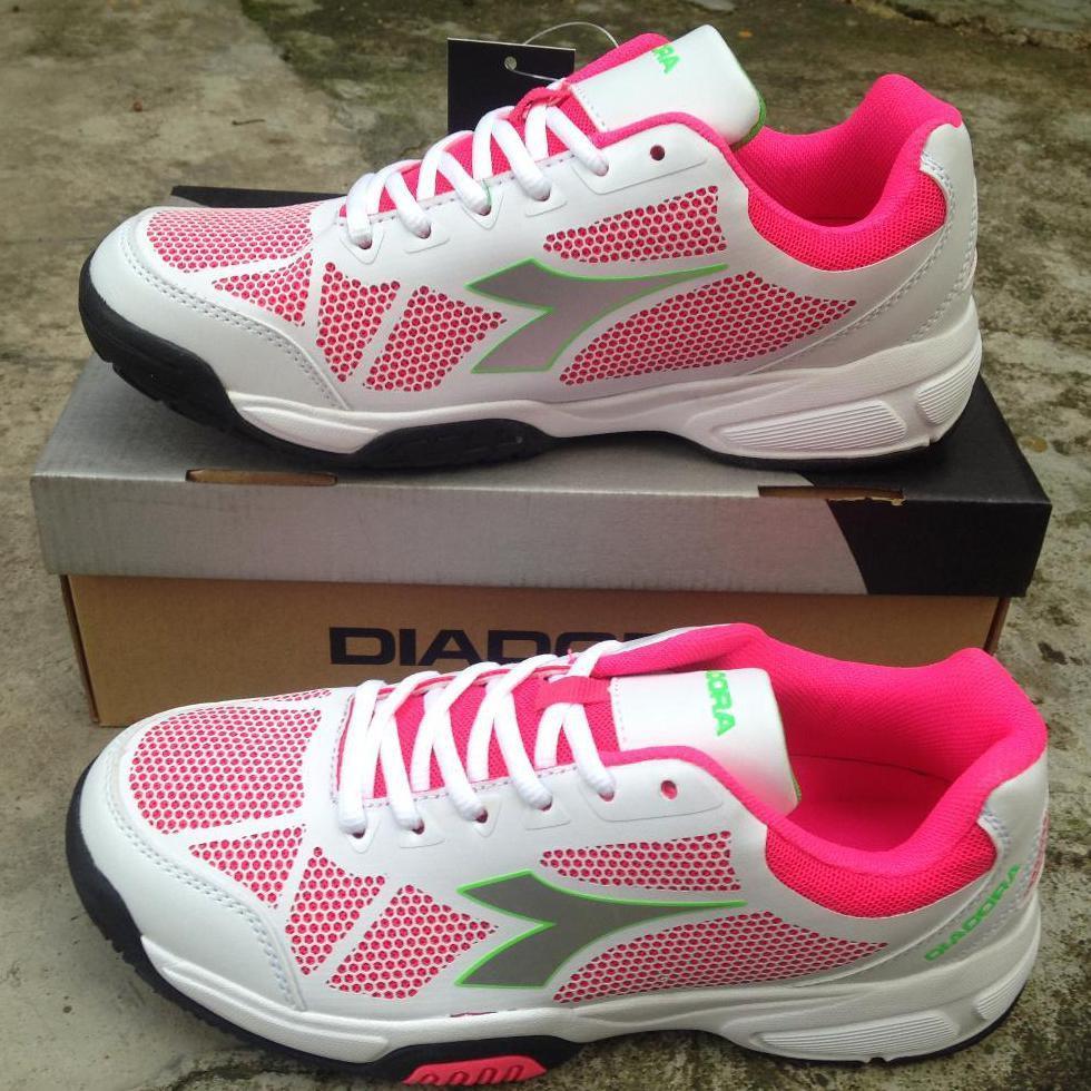 Diadora Galovin Putih Pink Size 36. Sepatu Olahraga Tenis Wanita