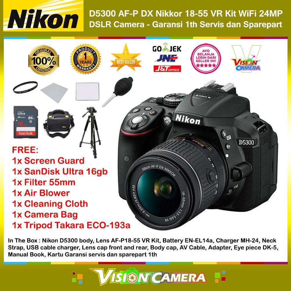 NIKON D5300 AF-P DX Nikkor 18-55 VR Kit 24MP DX-Format DSLR Camera (Garansi 1th) + Screen Guard + SanDisk Ultra 16gb + Filter 55mm + Blower + Cloth + Camera Bag + Tripod Takara ECO-193a
