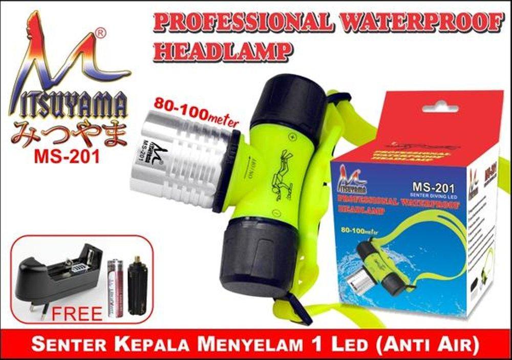 Lampu Senter Kepala Selam Diving LED Anti Air - Professional Waterproof Headlamp - Mitsuyama MS-201