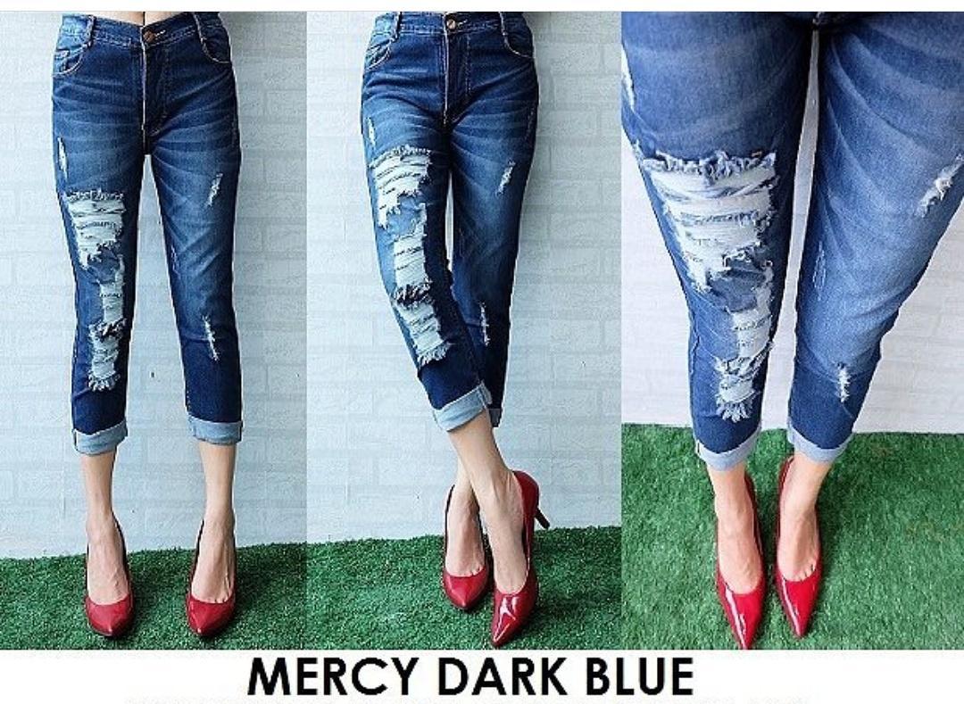 ADB -Jeans wanita 7/9 -Mercy Dark blue - sobek stik balik