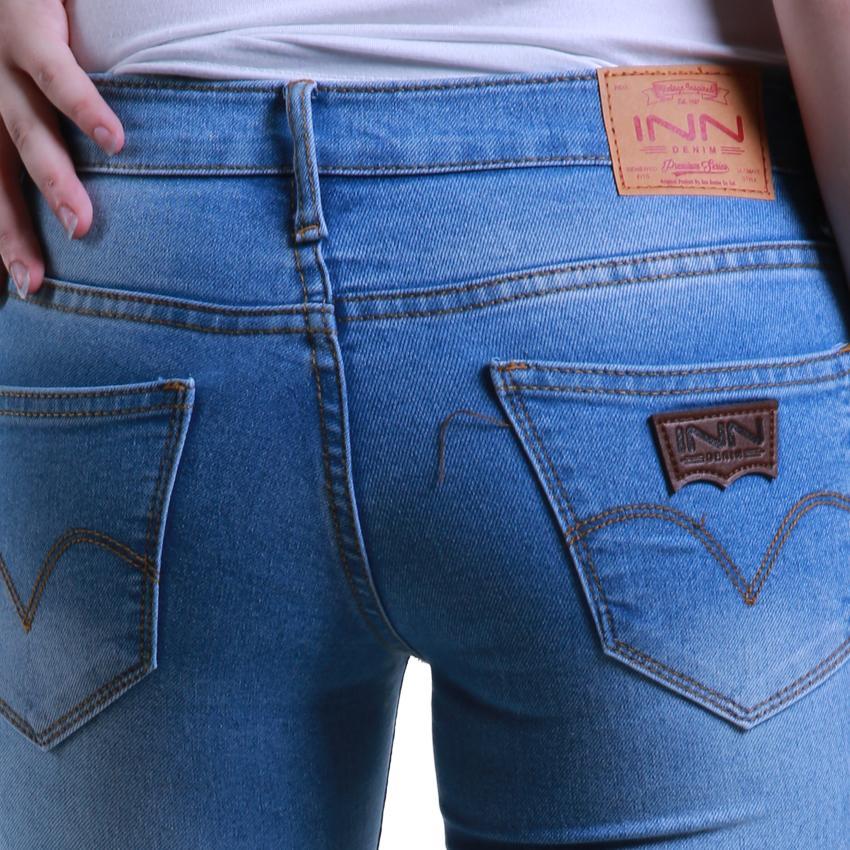 ... Nusantara - Celana Jeans Wanita Model Skinny Basic - IIN Denim Ritsleting Ripped New Color Denim ...