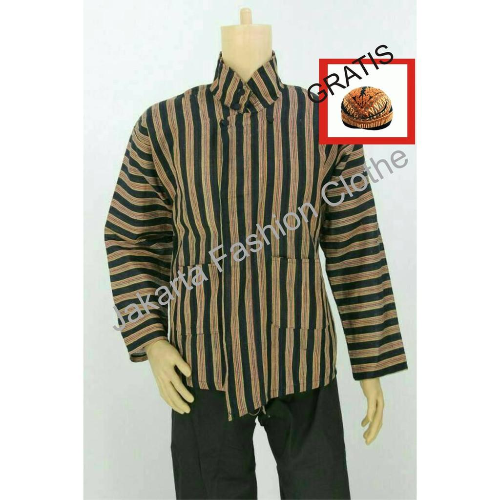Baju Surjan Dewasa Gratis Blangkon / Lurik / Batik Adat Jawa - Anxald